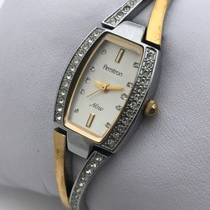 Armitron Now Ladies Watch Silver Gold Tone Crystal